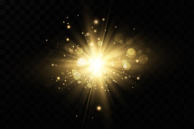 Une lumière rougeoyante blanche explose sur un fond transparent. avec ray. soleil brillant transparent, flash brillant. effet spécial de lumière parasite.