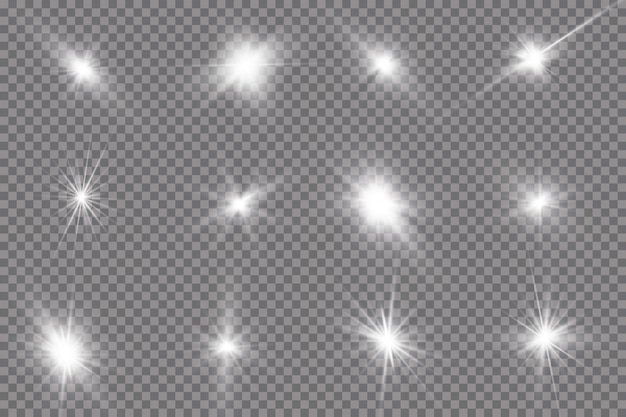Une lumière rougeoyante blanche explose sur un fond transparent. avec ray.