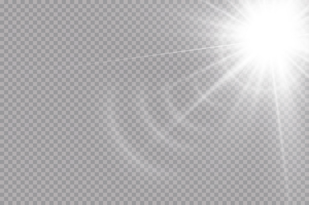 Une lumière rougeoyante blanche explose sur un fond transparent. soleil brillant transparent, flash lumineux. effet de lumière parasite spécial.