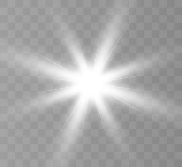 Une lumière rougeoyante blanche explose sur un fond transparent. soleil brillant transparent, flash lumineux.