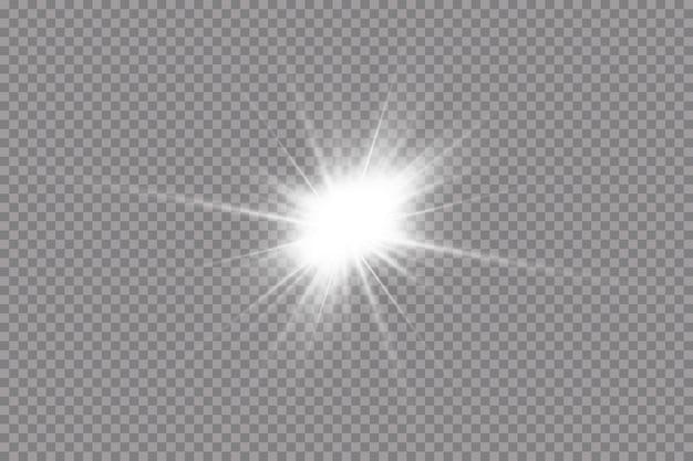 Une lumière rougeoyante blanche explose sur un fond transparent
