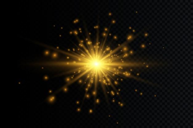 Une lumière rougeoyante blanche explose. des particules de poussière magiques étincelantes. étoile brillante. soleil brillant transparent, flash brillant. le vecteur scintille.