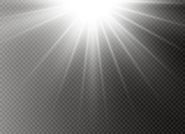 Une lumière rougeoyante blanche explose. soleil brillant transparent.