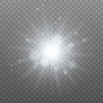 Lumière rougeoyante blanche. particules de poussière magiques. étoile brillante