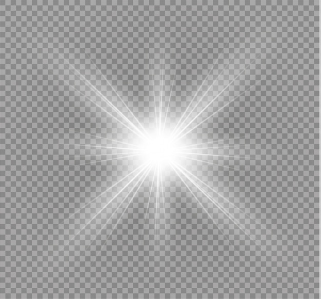 Une lumière rougeoyante explose sur un fond transparent. étoile brillante. soleil brillant transparent, flash lumineux.