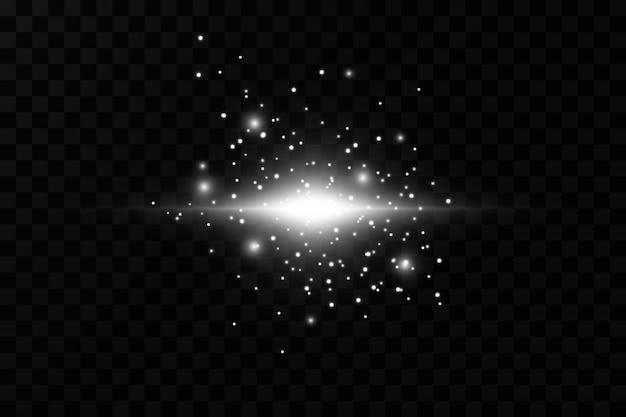 Une lumière rougeoyante explose sur un fond transparent particules de poussière magique étincelante. l'étoile éclate d'étincelles. paillettes d'or bright star. soleil brillant transparent, flash brillant