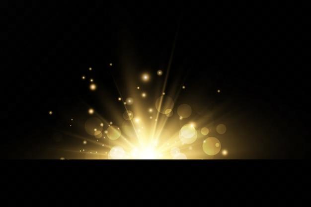 Une lumière rougeoyante explose sur un fond transparent. avec ray. soleil brillant transparent, flash brillant. effet spécial de lumière parasite.