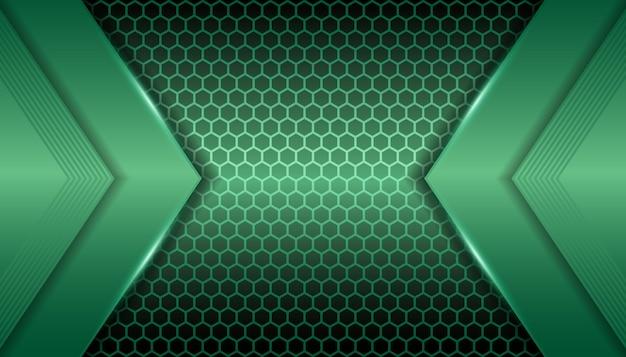 Lumière verte métallique abstraite sur fond d'hexagone