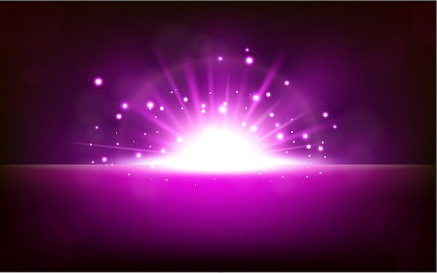 Lumière violette brillante s'élevant de l'horizon sombre