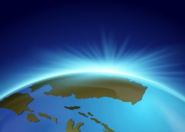 Lumière vive derrière la terre