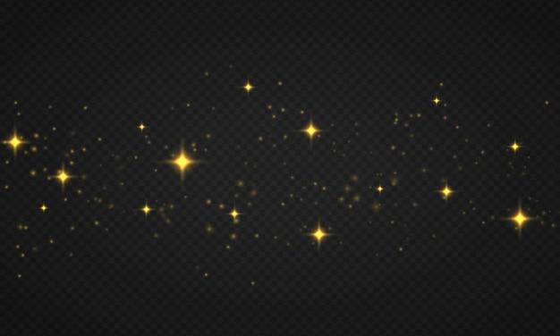 Lumières abstraites abstraites de bokeh brillantes, particules de soleil étoilées et étincelles avec effet de lumière parasite