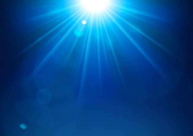 Lumières bleues brillantes avec fond de lumière parasite