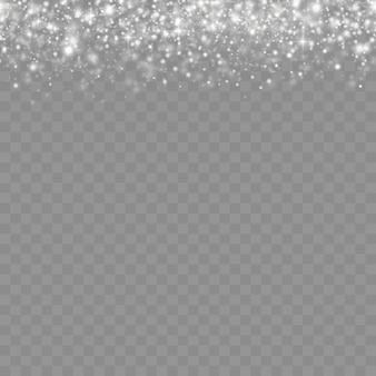 Lumières bokeh blanches brillantes étoile brillante, particules et étincelles avec effet de lumière parasite