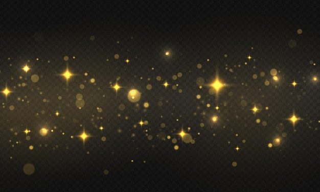 Lumières bokeh brillantes étoile brillante, particules et étincelles avec effet de lumière parasite