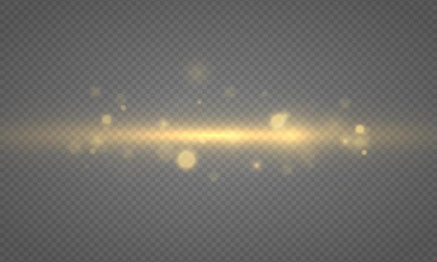 Des lumières de bokeh brillantes, des particules de soleil étoilées brillantes, des étincelles avec effet de lumière parasite, de la poussière de noël