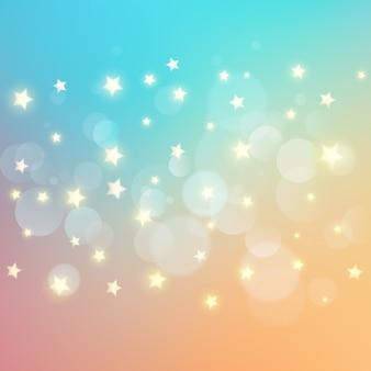 Lumières de bokeh et fond d'étoiles