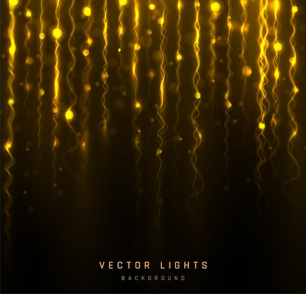 Lumières de bokeh de vacances, guirlande. lumière floue bokeh sur fond noir. abstrait paillettes d'argent défocalisé étoiles clignotantes et étincelles.