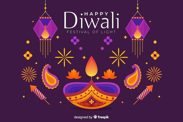 Lumières colorées fond plat de diwali