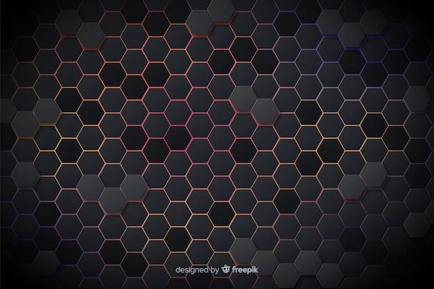 Lumières colorées technologiques de fond en nid d'abeille