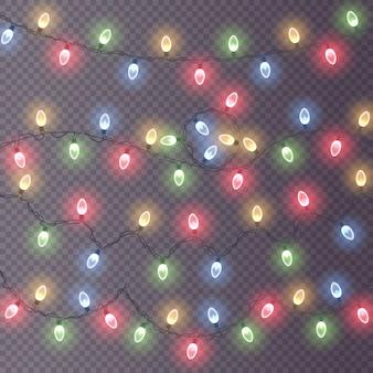 Lumières, décorations, guirlandes isolées sur fond transparent. lumières rougeoyantes.