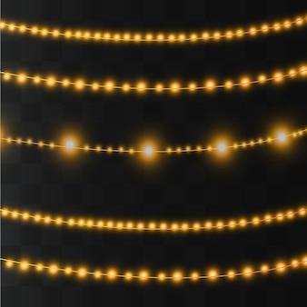 Lumières dorées isolés des éléments de conception réaliste.