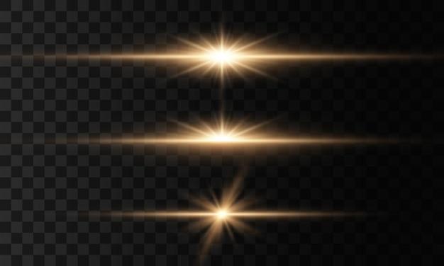 Lumières et étoiles incandescentes. étoile brillante, scintille soleil brillant transparent