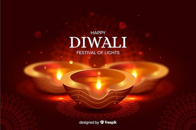 Lumières et fond réaliste de diwali