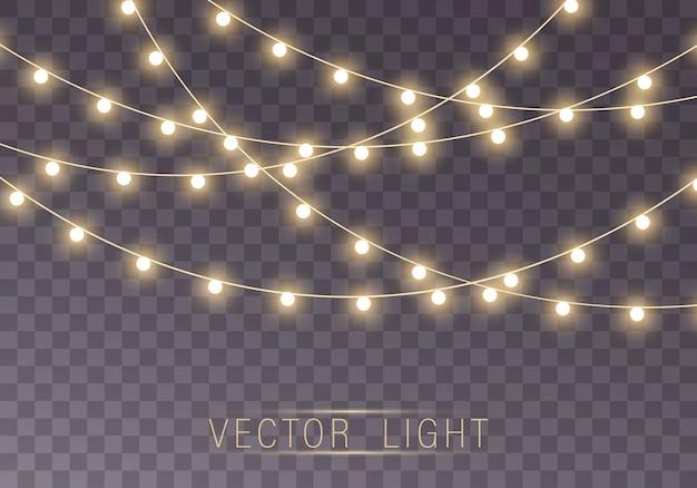 Lumières isolées sur fond transparent pour cartes, bannières, affiches, conception de sites web. ensemble d'illustration de lampe néon led guirlande lumineuse dorée