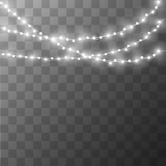 Lumières de noël sur un beau fond transparent.
