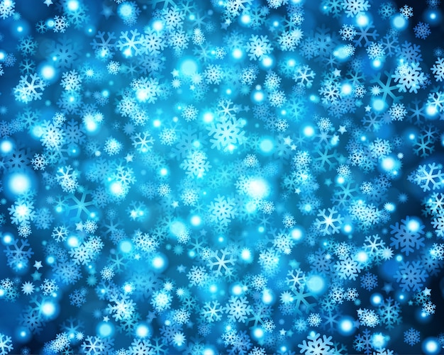 Lumières de noël bleu scintillant de flocons de neige lueur brillante et illustration