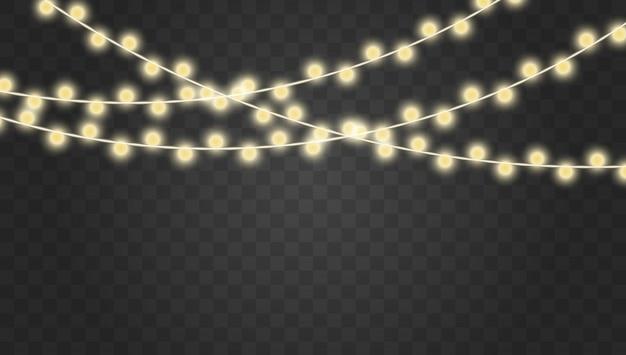Lumières de noël. décorations de guirlandes.