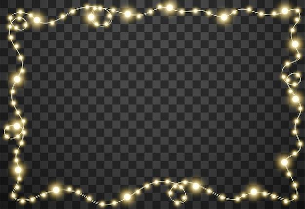 Lumières de noël sur fond transparent
