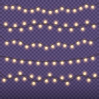 Lumières de noël guirlande dorée brillante