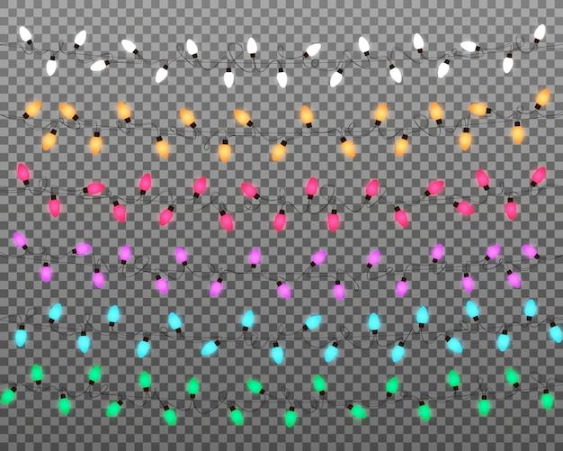 Lumières de noël. guirlande de guirlandes multicolores réalistes pour le nouvel an et noël