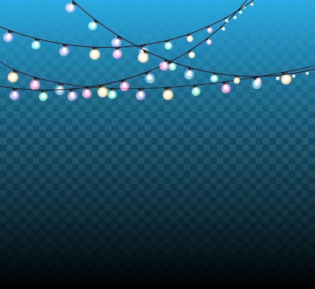 Lumières de noël, guirlande lumineuse, élément de conception réaliste. lumières incandescentes des vacances de noël.
