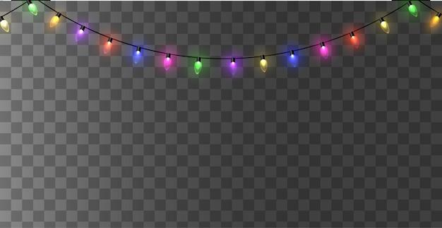 Lumières de noël. guirlande de noël lumineuse et colorée.