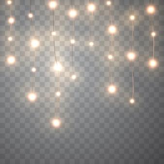 Lumières de noël. guirlande rougeoyante de vecteur