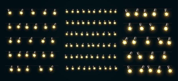 Lumières de noël. guirlandes de noël luisantes d'ampoules led