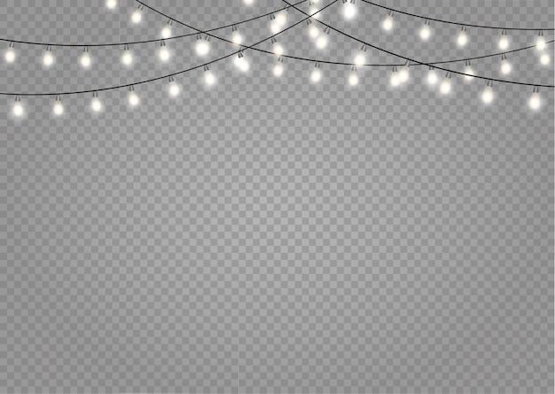 Lumières de noël isolées. décorations de guirlandes.