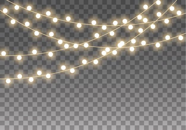 Lumières de noël isolées sur fond transparent. ensemble de lampe de guirlande lumineuse de noël.