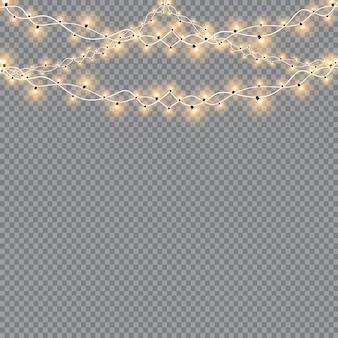 Lumières de noël, isolées sur fond transparent. guirlande lumineuse de noël. lumières de décoration translucides blanches du nouvel an. lampe néon à led. lumières lumineuses pour les vacances de noël