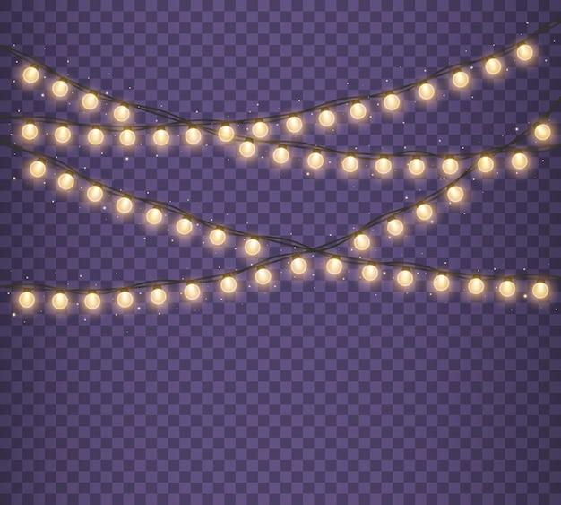Lumières de noël isolées sur fond transparent guirlande lumineuse de noël