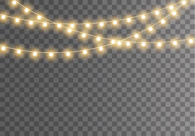 Lumières de noël isolées sur fond transparent pour cartes, bannières, affiches, conception de sites web. ensemble de guirlande rougeoyante de noël doré illustration de lampe néon led