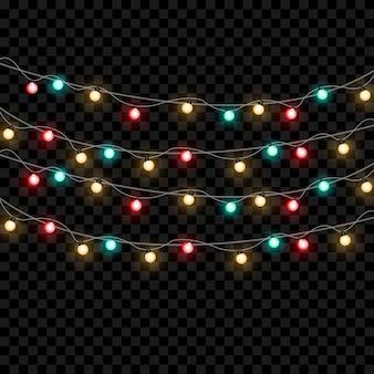 Lumières de noël isolées sur fond transparent.