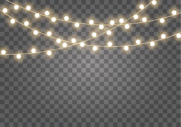 Lumières de noël isolées. lampe néon led guirlande lumineuse.