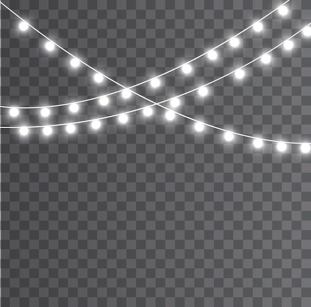 Lumières de noël isolées. lumières rougeoyantes de noël. décorations de noël, éléments réalistes