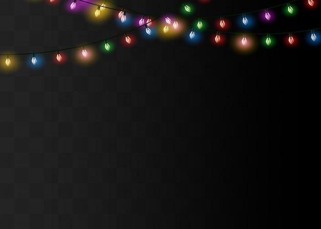 Lumières de noël isolés des éléments de conception réaliste. lumières incandescentes pour les vacances de noël.lampe néon à led