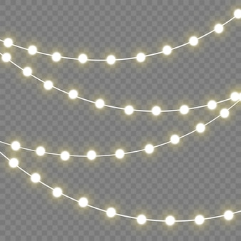 Lumières de noël isolés des éléments réalistes. lumières incandescentes pour les vacances de noël.lampe néon à led