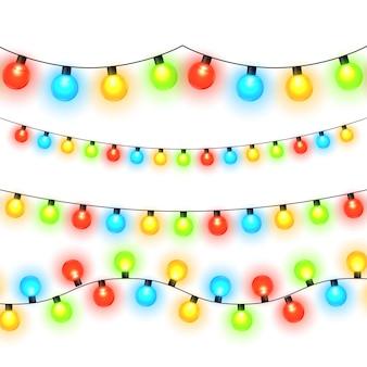Lumières de noël isolés sur fond transparent. guirlande de noël lumineuse colorée. modèle vectoriel