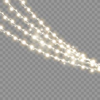 Lumières de noël isolés sur fond transparent illustration vectorielle